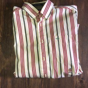 Tommy Hilfiger Red & Green Stripe Button S…